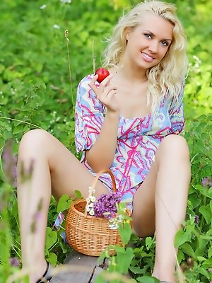 Blonde on the nature